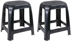 Set of 2 Large Rattan Stackable Stools Black Plastic Step Stool Indoor Outdoor