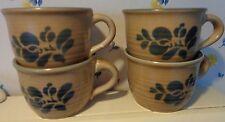 4 Pfaltzgraff Folk Art cups mugs tan with blue 6 ounces vintage
