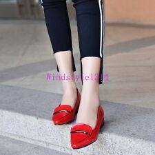 Womens Pumps Single Shoes Low Heel Patent Leather Pointy Toe Fashion Size