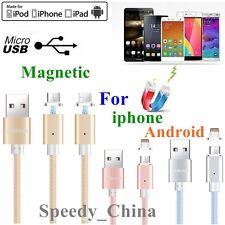 Genuine Braided Magnetic USB Charger Fast Charging Cable For iPhone/ Samsung/HTC