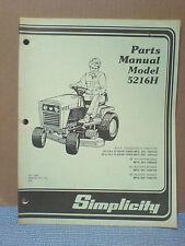 Simplicity 5216H Tractor And Mower Deck Parts Manual Tp-1093 Original!