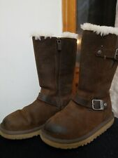 UGG Australia S/N 1969 Girls Youth Kids Kensington Brown Leather Boots Size 1