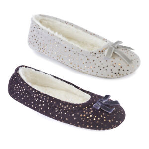 Ladies  Footwear Velour Ballet With Tiny Star Print Slippers with Bow FT1360