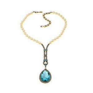 "HSN Heidi Daus ""My Heirloom"" Beaded Crystal Bronzetone Drop Necklace $227"