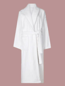 Ex M*S Pure Cotton White Towelling Dressing Gown Size 6 - 22 (A20)