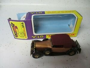 Matchbox Lesney Yesteryear Y-15 Packard Victoria- purple & yellow window box