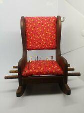 Vintage Sewing Pin Cushion Wooden Chair Handmade Holds Pins Thread Doll Chair
