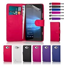 Book Wallet PU Leather Case Cover For Lumia Phones + Screen Protector & Stylus
