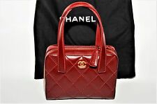 Rare Vintage CHANEL RED Small Tote Bag w/snap in makeup bag,tags & dust bag