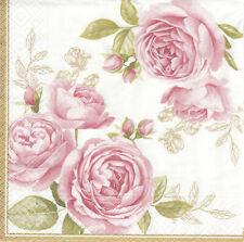 Lot de 4 Serviettes en papier Roses Delicates Decoupage Collage Decopatch