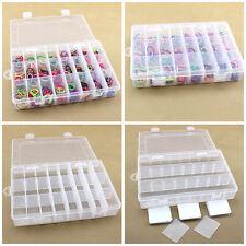 Boîte Rangement Plastique 24 Compartiment Pr Perle Bijoux Ongle Coffret Arrangé
