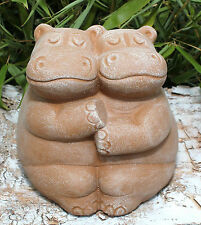 Steinfigur Nilpferd Hippo Gartendeko Gartenfigur Betonfigur Gartenskulptur