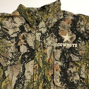Dallas Cowboys Mens SS Camo Button Down Shirt Natural Gear Sz 2XL NWOT Vented