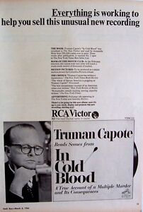 TRUMAN CAPOTE 1966 Poster Ad IN COLD BLOOD Truman Capote Reads Scenes From