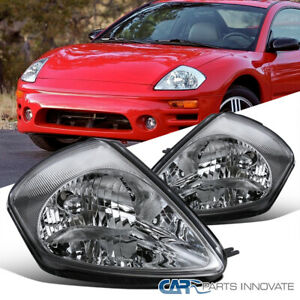 For 00-05 Mitsubishi Eclipse Clear Lens Headlights Replacement Head Lamps Pair