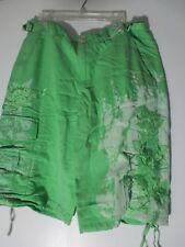 NEW Da-Nang Silk Bermuda Shorts apple green Bleached embroidered design SZ S NWT