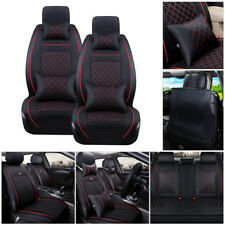 US 5-Seats Car SUV PU Leather Seat Cover Front+Rear Cushions w/Pillows Black&Red