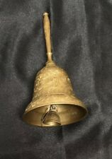 Vintage Ornate Dinner Bell Gold Brass Metal Etched Made In India Spindle Handle