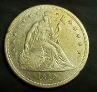 1840 Seated Dollar $1 (AU)SCARCE DOLLAR!! LOOK! READ! SHARP COIN! IN DEMAND!!!