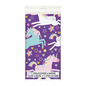 Unicorn purple tablecover, unicorn party supplies Birthday Party Supplies