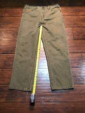 orvis olive green pants leather like pocket size 34x30
