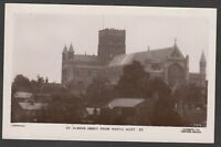 Postcard St Albans Abbey Hertfordshire view from North West early RP Lilywhite