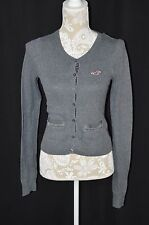 Hollister Womens Small Gray Button Up Cardigan Sweater Crew Neck Long Sleeve