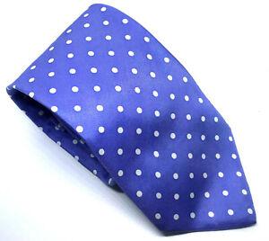 "T.M. Lewin Men's Tie Blue White Polka Dot 100% Silk 3.5"" Width 60"" Length"