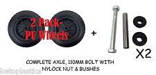"""2 Pack 14 """"pu brouette roue solide noir chariot pneumatique mousse rempli + essieux"""