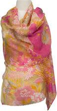 Feiner Schal Gelb Pink Floral wool silk Wolle Seide scarf écharpe Yellow
