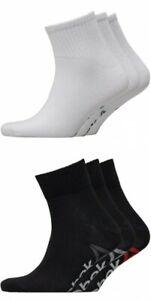 NEW REEBOK SPORTS TRAINING QUARTER SOCKS 3 PACK UK 3.5-7 & 6.5-10 WHITE OR BLACK