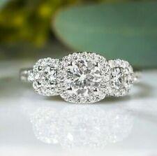 Halo Engagement Wedding Ring Three Stone 3.2 Ct Round Cut Diamond 14K White Gold