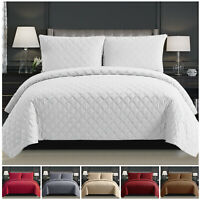 Bedspread Quilted Bed Throw Bedding Set with Pillow Case Single Double King Size