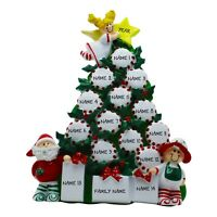 Peppermint Family Tree - Family of 15 Name Personalized Christmas Ornament
