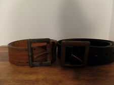 """2 Vintage men's leather belts 2"""" wide with large buckle saddle leather"""