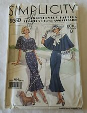 Simplicity 60th Anniversary Pattern 1930s Style Dress & Cape Size 6-12 Uncut