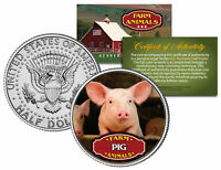PIG * Collectible Farm Animals * JFK Kennedy Half Dollar U.S. Colorized Coin