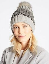 2 x ladies Marks and Spencer Unisex Soft Acrylic Beanie Hat White and Rust