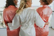 Rhinestone Embellished Satin Bridal Party Robes- Bride Bridesmaid, Maid of Honor