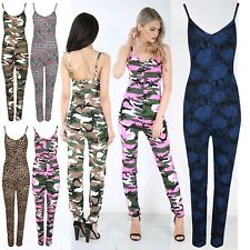 Ladies Printed Thin Strap Cami Playsuit Womens Jersey All in One Jumpsuit UK8-12