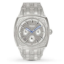 New Bulova 96C002 Stainless Steel Crystal Day-Date Men's Watch
