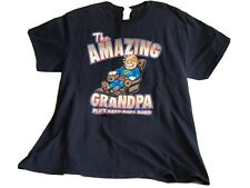 THE AMAZING GRANDPA PLAYS HARD NAPS HARD Mens Navy Blue T Shirt Adult Large NWOT