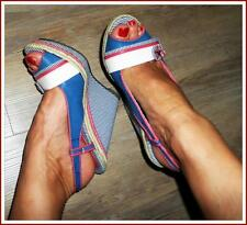 BLUE NAUTICAL SAILOR RETRO WEDGE 8 8.5 SLINGBACK peep-toe ROCKABILLY shoe heels