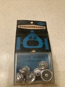 Stronbecker 1/32 Scale Slot Car Competition Accessory 6 Chrome Spoke Wheels 9052