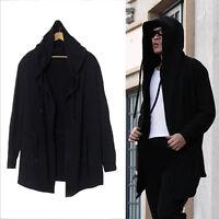 Men's Hooded sweater cardigan long black cloak cape coat hip-hop Coat Fashion