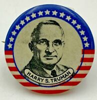"Harry S Truman Pinback Vintage 1-1/4"" Red White Blue Pin Button 18-1320"