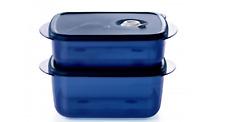 Tupperware Vent N Serve Medium Set Microwave & Freezer Safe BPA Free Blue New