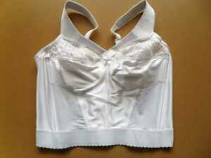 GLAMORISE Bra_40C White_Classic Non-wired Long Line Satin Lace Trim Boned _NWT