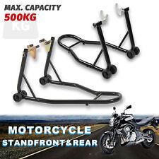 Motorcycle Bike Heavy-duty Front&rear Stand Motorbike Lift Paddock Carrier Black