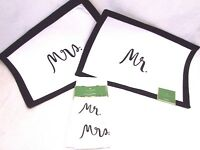 Kate Spade Placemats Mr and Mrs Black White With Matching Napkins